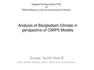 "Targeted Training Activity (TTA)  on  ""ENSO Monsoon in the Current and Future Climate"""