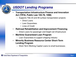 Expanding the State Infrastructure Bank Program Commercial Lending Conduits Community Reinvestment Act