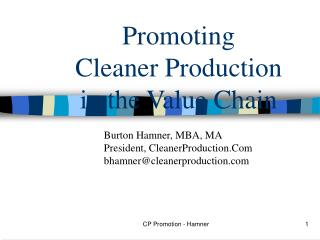 Promoting  Cleaner Production in the Value Chain