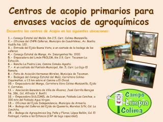 Centros de acopio primarios para envases vacios de agroquímicos