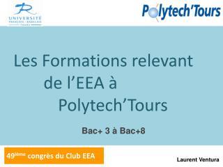 Les Formations relevant de l'EEA à  Polytech'Tours