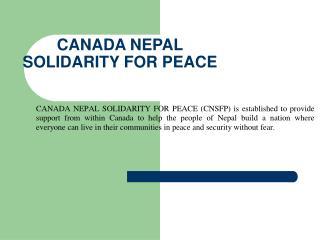 CANADA NEPAL SOLIDARITY FOR PEACE