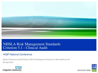 NHSLA Risk Management Standards Criterion 5.1 - Clinical Audit