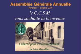 Assemblée Générale Annuelle Vendredi 11 octobre 2013