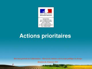 Actions prioritaires