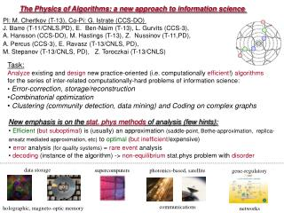 The Physics of Algorithms: a new approach to information science