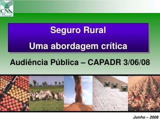 Seguro Rural  Uma abordagem crítica