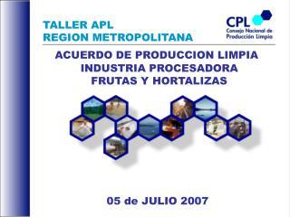 TALLER APL  REGION METROPOLITANA