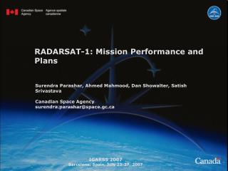 RADARSAT-1: Mission Performance and Plans