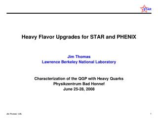 Heavy Flavor Upgrades for STAR and PHENIX Jim Thomas Lawrence Berkeley National Laboratory