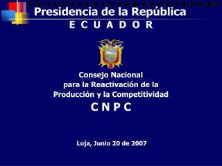 Consejo Nacional para la Reactivación de la Producción y la Competitividad C N P C