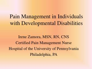 Pain Management in Individuals with Developmental Disabilities