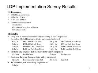 LDP Implementation Survey Results