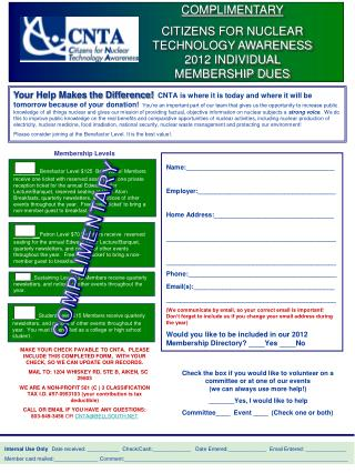 COMPLIMENTARY CITIZENS  FOR NUCLEAR TECHNOLOGY AWARENESS 2012 INDIVIDUAL MEMBERSHIP DUES