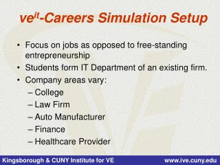 ve it -Careers Simulation Setup