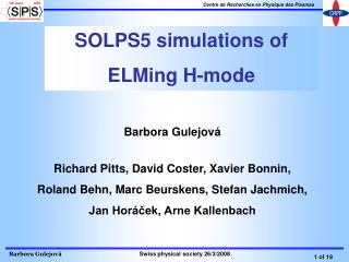 SOLPS5 simulations of  ELMing H-mode