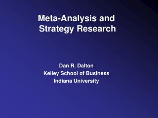 Meta-Analysis and  Strategy Research