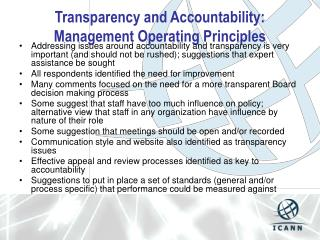 Transparency and Accountability: Management Operating Principles