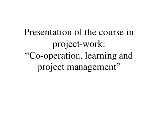 Project Theory    Introduction to Project Cycle Management