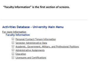 """Faculty Information"" is the first section of screens."