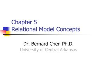 Chapter 5  Relational Model Concepts