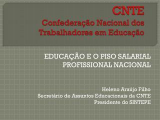 CNTE Confederação Nacional dos Trabalhadores em Educação