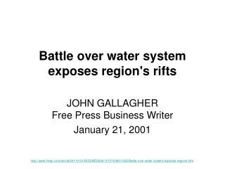 Battle over water system exposes region's rifts