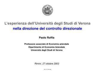 L'esperienza dell'Università degli Studi di Verona nella direzione del controllo direzionale
