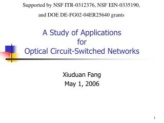 A Study of Applications  for  Optical Circuit-Switched Networks