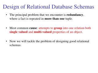 Design of Relational Database Schemas