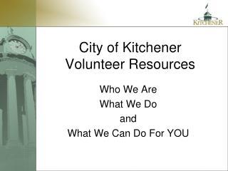 City of Kitchener Volunteer Resources
