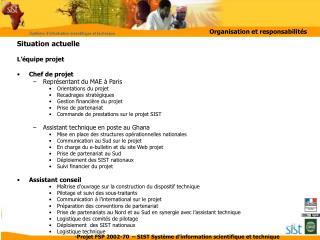 Situation actuelle L'équipe projet Chef de projet Représentant du MAE à Paris