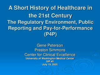 Gene Peterson  Preston Simmons Center for Clinical Excellence