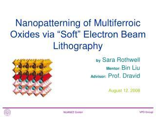 by  Sara Rothwell Mentor : Bin Liu Advisor:  Prof. Dravid August 12, 2008