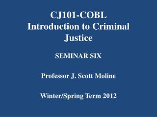 CJ101-COBL Introduction to Criminal Justice