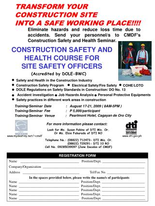 CONSTRUCTION SAFETY AND HEALTH COURSE FOR SITE SAFETY OFFICERS