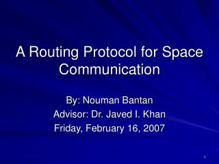 A Routing Protocol for Space Communication