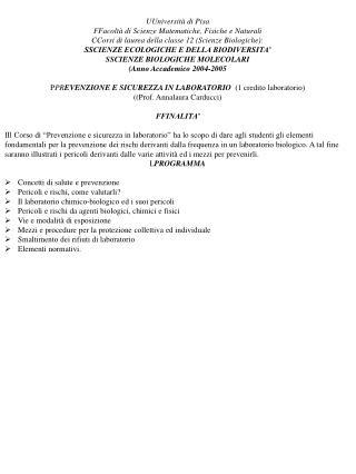 UUniversità di Pisa FFacoltà di Scienze Matematiche, Fisiche e Naturali