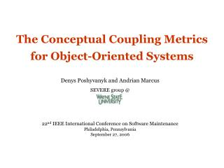 The Conceptual Coupling Metrics for Object-Oriented Systems