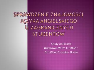 Sprawdzenie znajomości języka angielskiego  u zagranicznych studentów