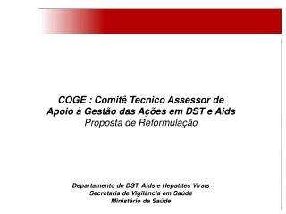 COGE : Comit� Tecnico Assessor de  Apoio � Gest�o das A��es em DST e Aids Proposta de Reformula��o