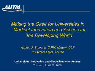 Making the Case for Universities in Medical Innovation and Access for the Developing World