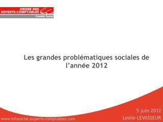 Les grandes problématiques sociales de l'année 2012