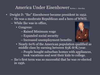 America Under Eisenhower  Section 1 � 820-825