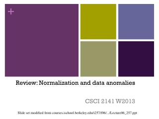 Review: Normalization and data anomalies