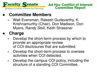 Ad Hoc Conflict of Interest Committee Report