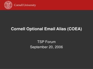 Cornell Optional Email Alias (COEA)