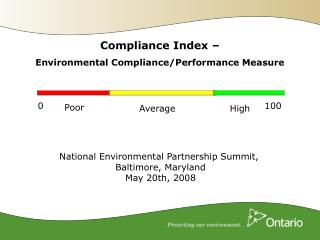 Compliance Index –  Environmental Compliance/Performance Measure