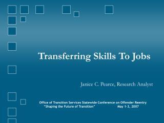 Transferring Skills To Jobs