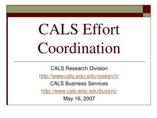 CALS Effort Coordination
